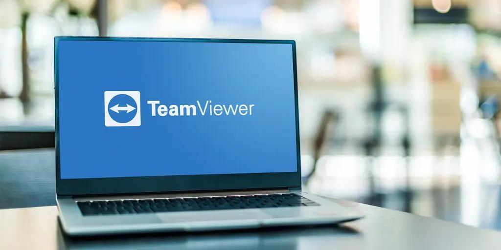 Laptop met TeamViewer actief